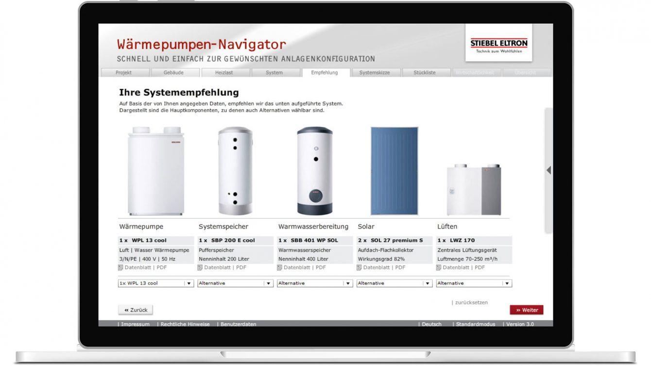 Produktkonfigurator für Wärmepumpen