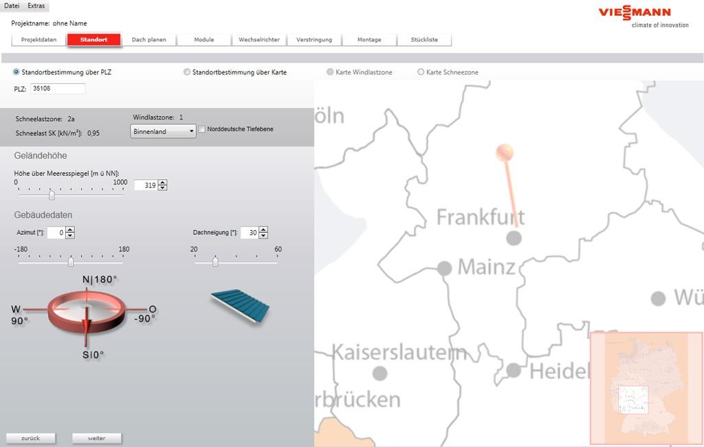 Photovoltaik Standort bestimmen